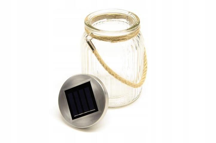 Lampion szklany 3 LED 4 szt Lampa solarna z uchwyt