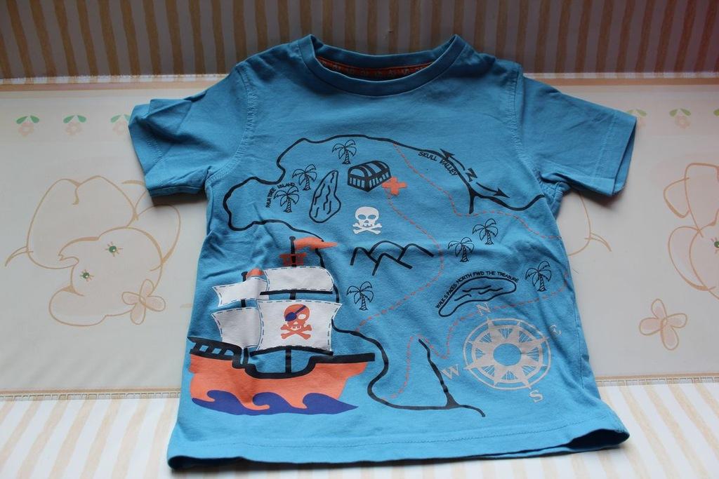 TU T-shirt koszulka piraci mapa 80/86 cm 12-18 m