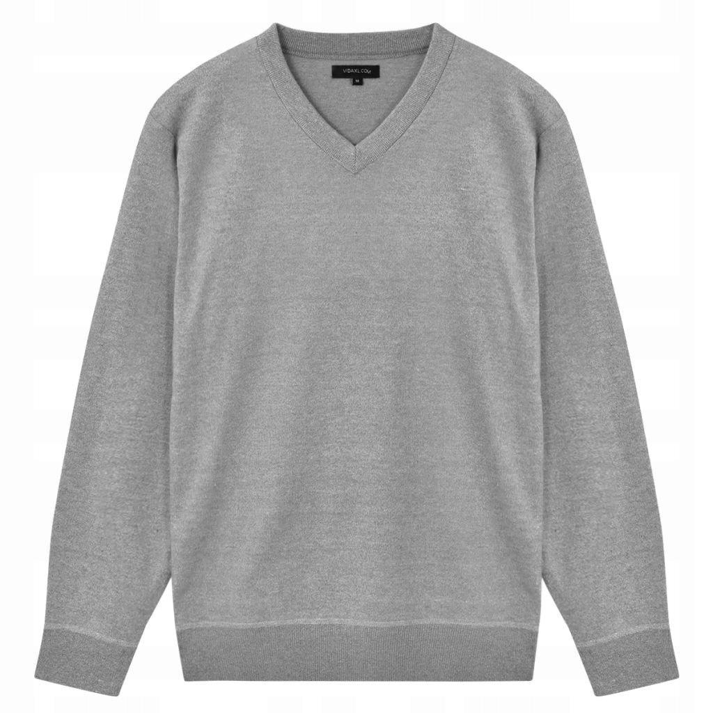 Sweter Męski w Serek, Szary, Rozmiar XL