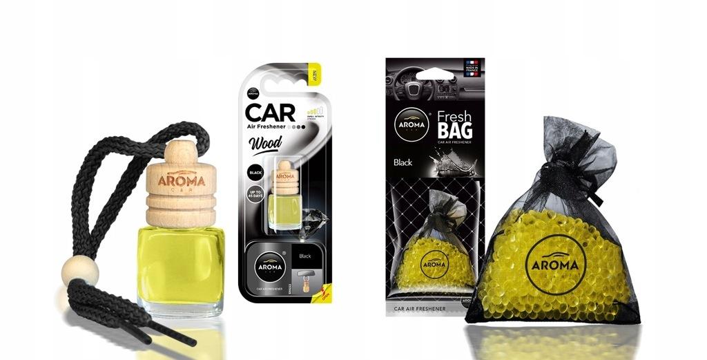 Zapach samochodowy Aroma Black na lusterko