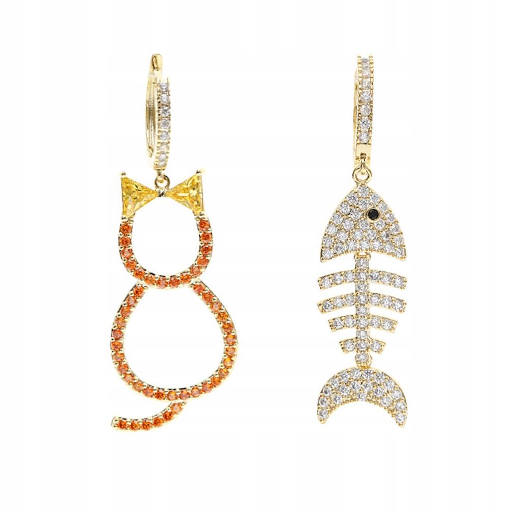 Asymmetric Cat Fish Earrings Copper Zircon Earring