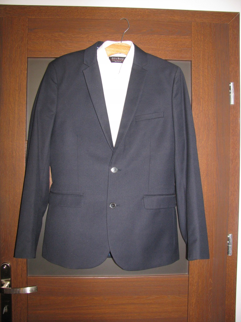 Granatowy garnitur H&M Slim Fit r.48 s.idealny