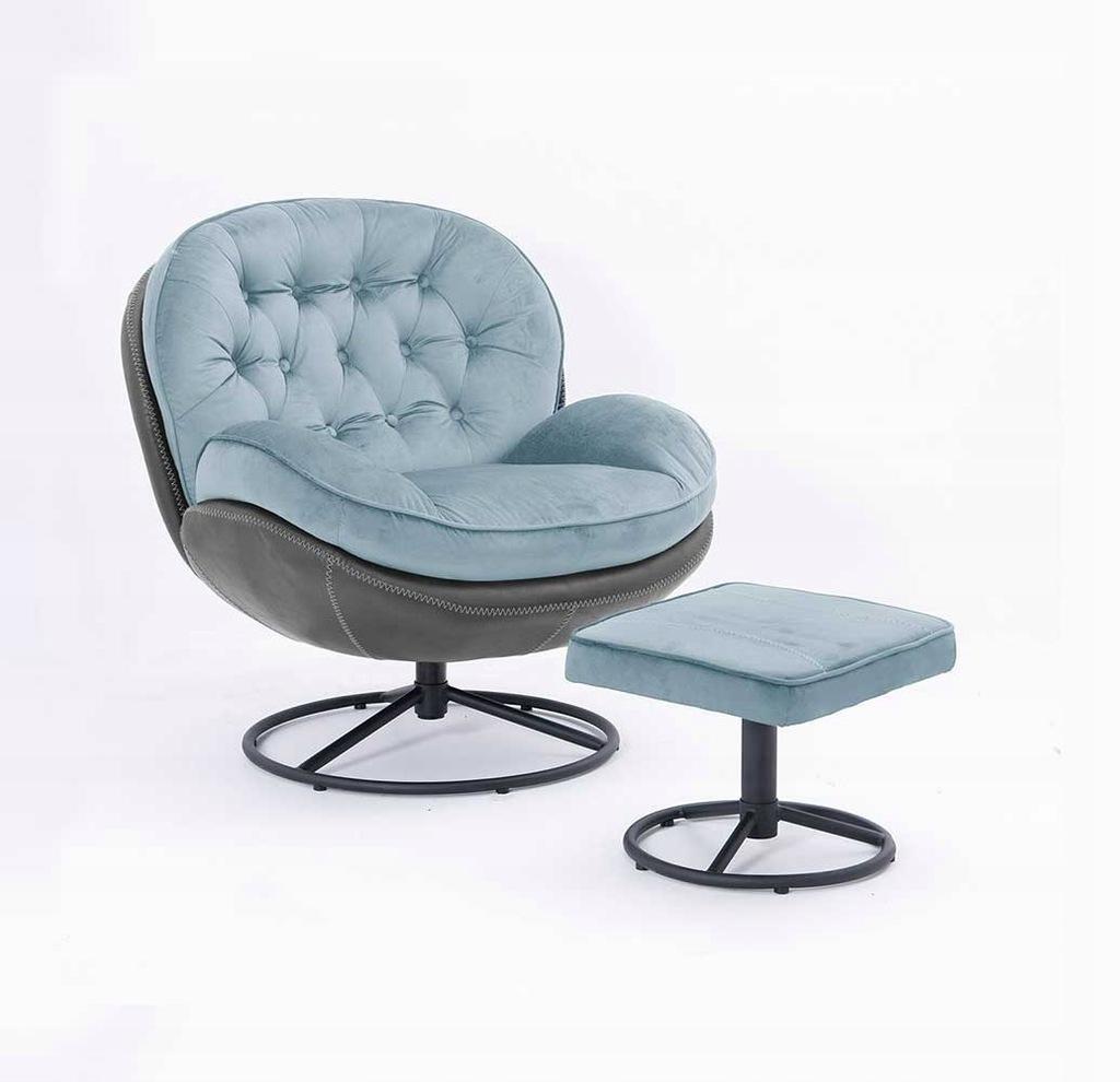Fotel obrotowy LIMA z podnóżkiem błękitny+szary