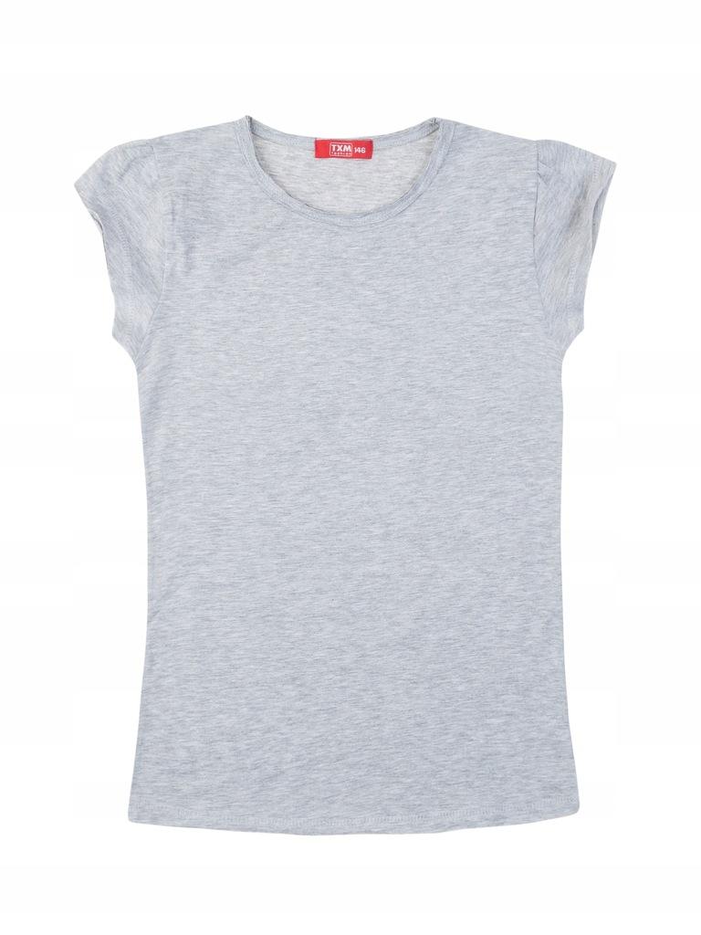 TXM T-shirt dziewczęcy 152 SZARY MELANŻOWY