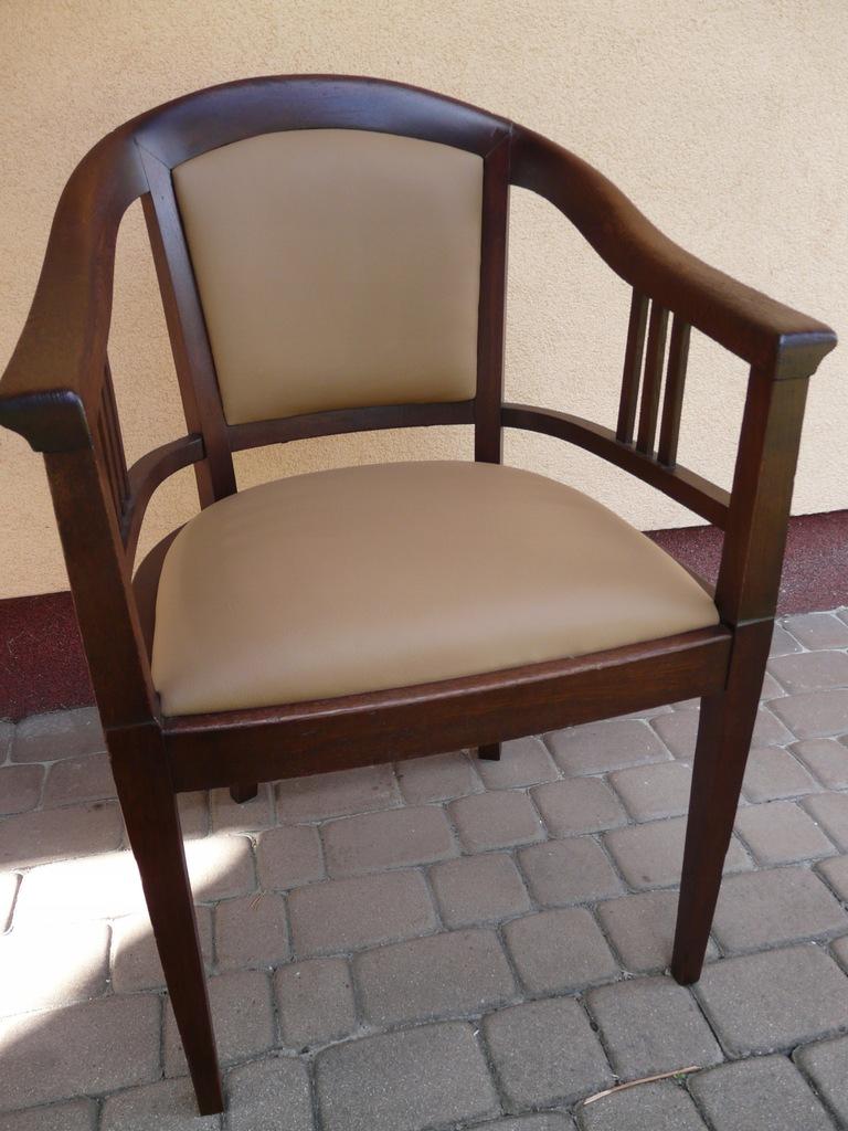 Secesyjny, dębowy fotel do biurka NOWA TAPICERKA