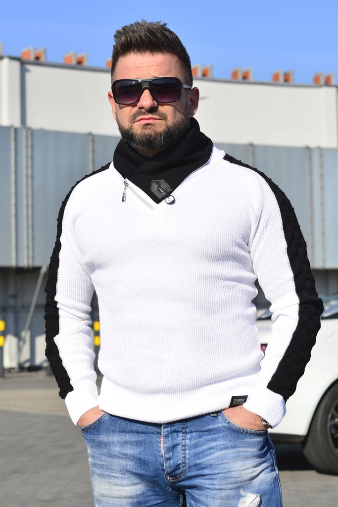 Sweter męski M biały moda Italy Lorenzo