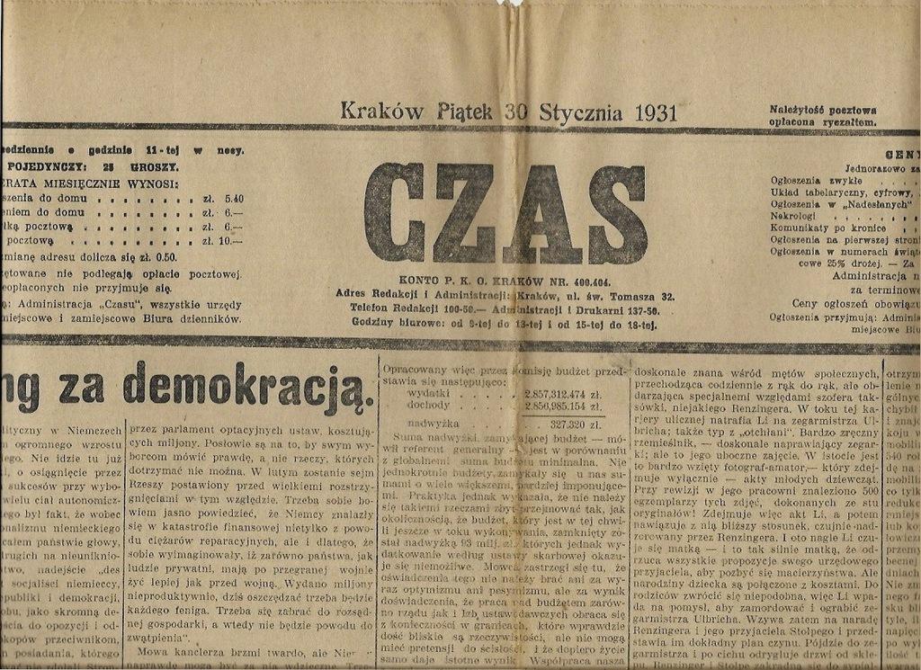 CZAS 1931 24 Warszawa Kraków Lwów Cyganie Romowie