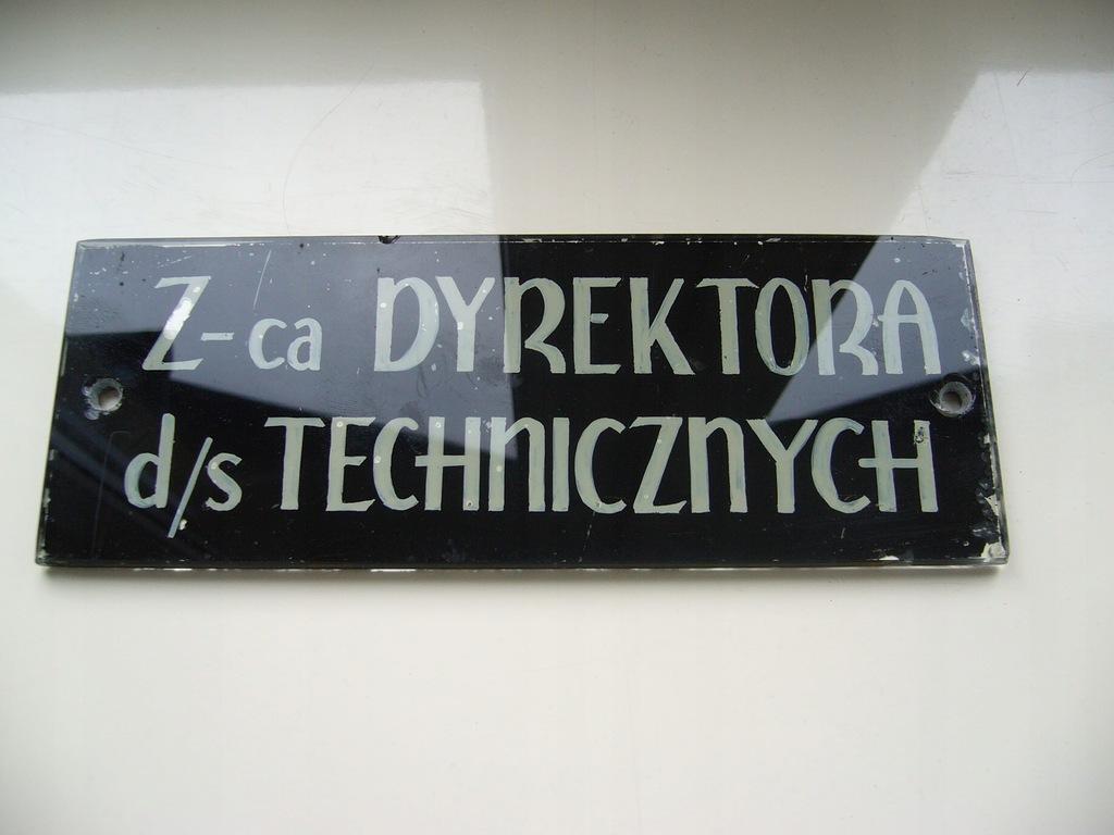 SZYLD TABLICZKA SZKŁO Z-CA DYREKTORA RASOWY PRL