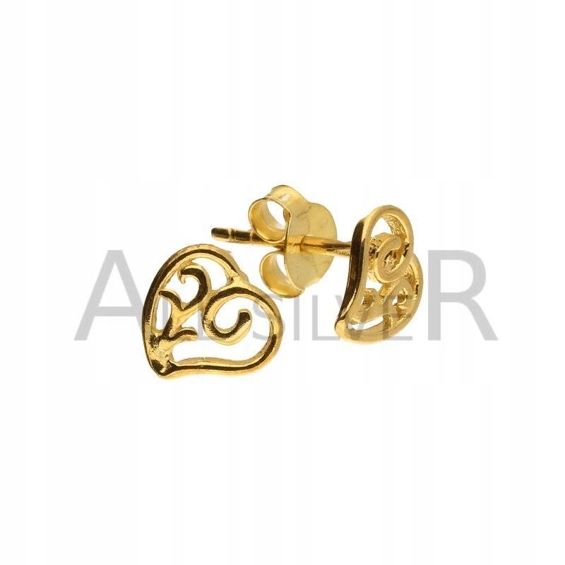 Kolczyki srebrne ażurowe serce złote CELEBRYTKI