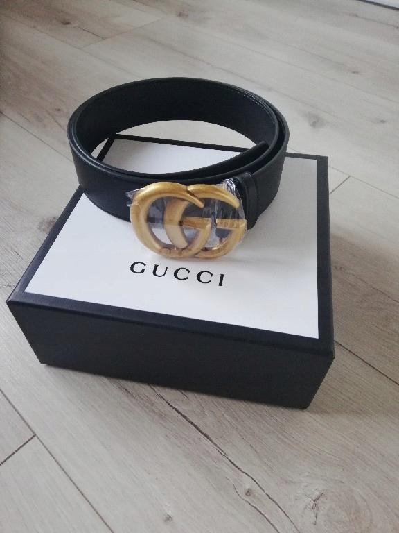 Pasek Gucci Skora Naturalna Zloty 3 8 Cm Roz 85 8143606347 Oficjalne Archiwum Allegro
