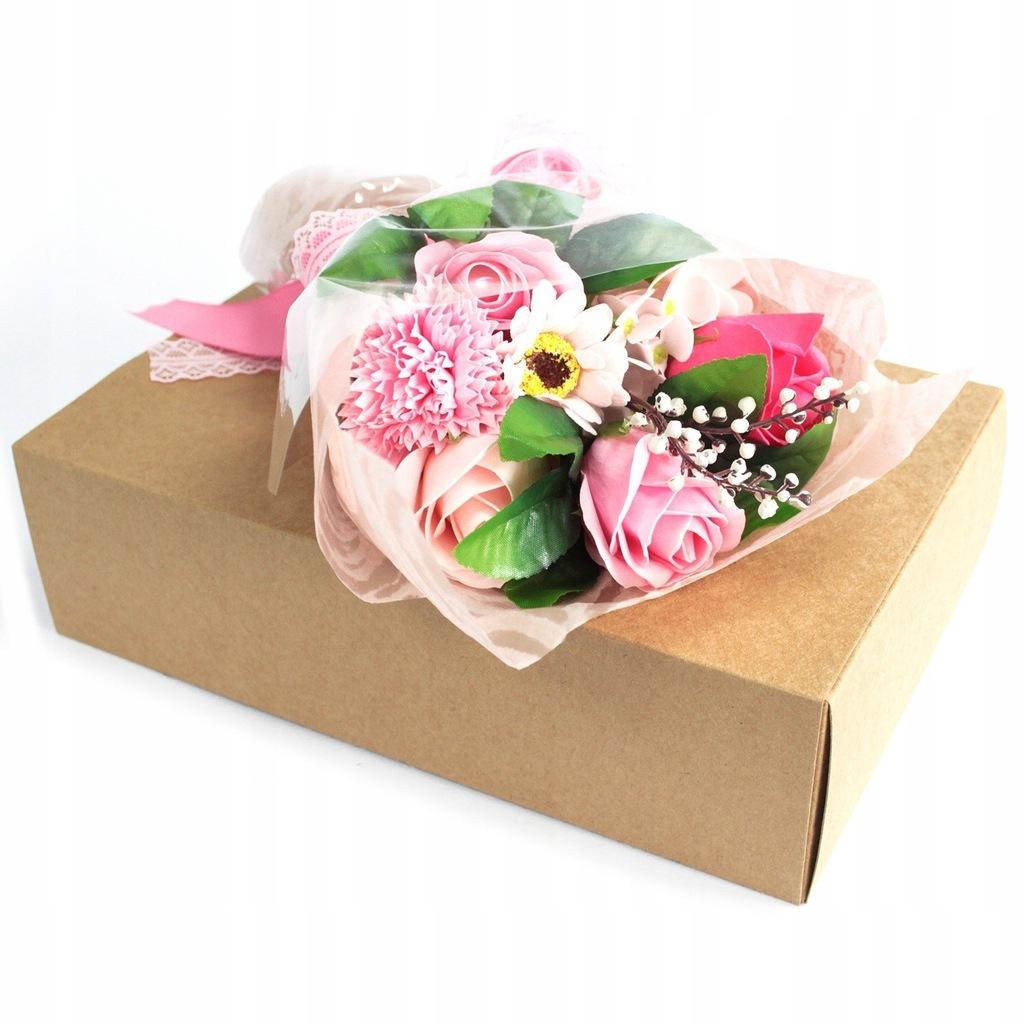 Różowy bukiet mydlany w ozdobnym pudełku