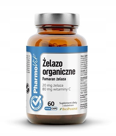Żelazo organiczne 20 mg, Fumaran żelaza + witamina