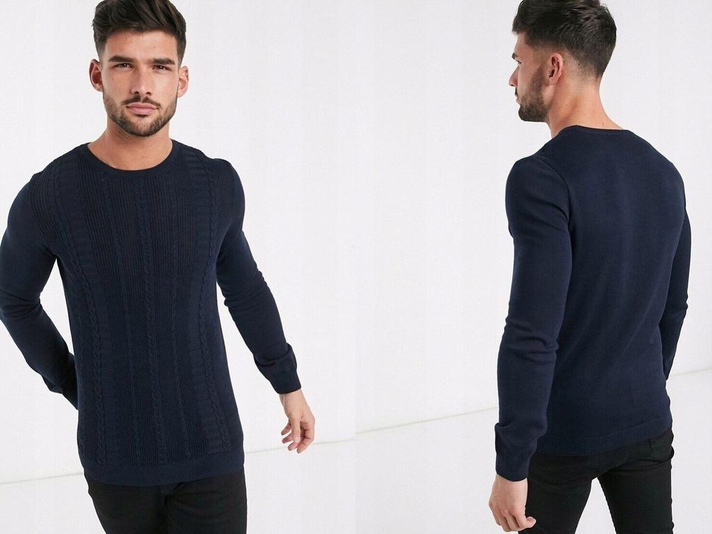 New Look sweter ze splotem warkoczowym XS