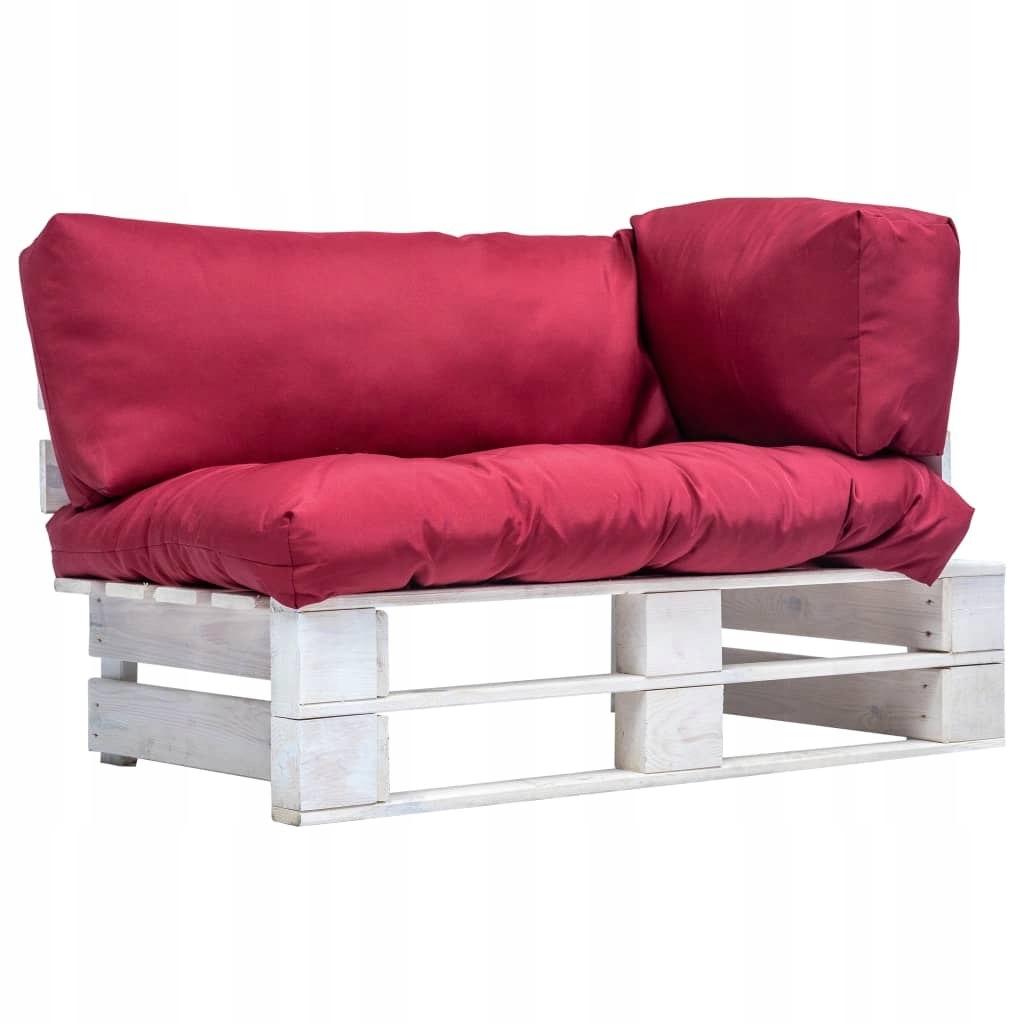Sofa ogrodowa z palet z czerwonymi poduszkami, so