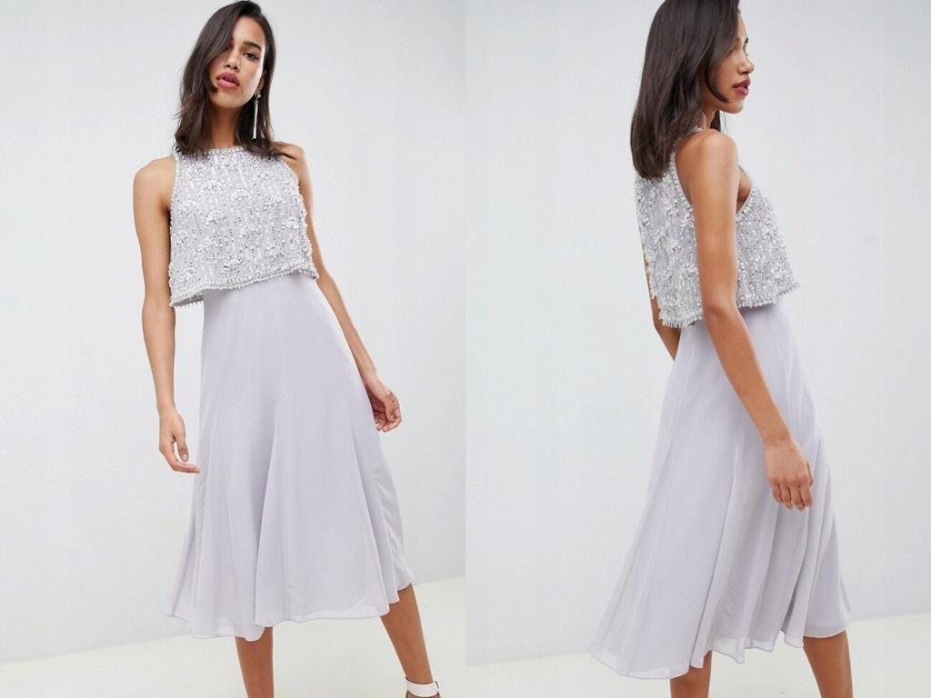 Szara szyfonowa sukienka z koralikami midi M