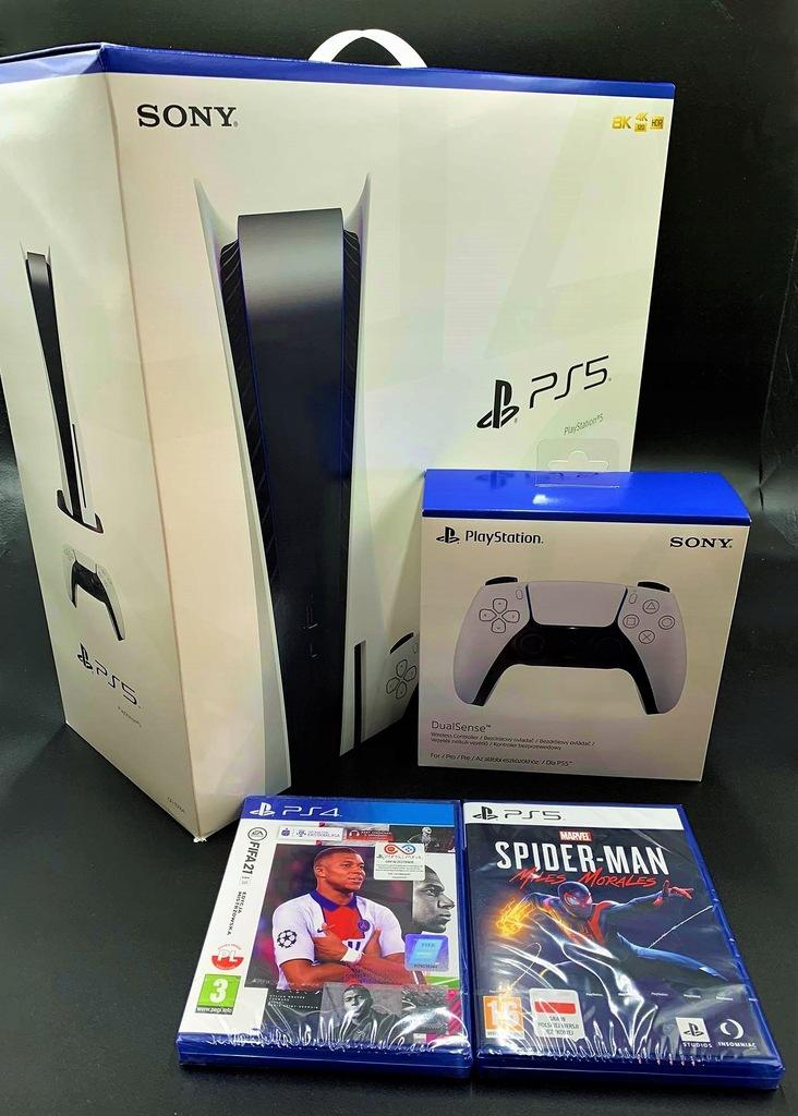 Konsola PlayStation 5 + 2 Pady Spider-Man FIFA 21