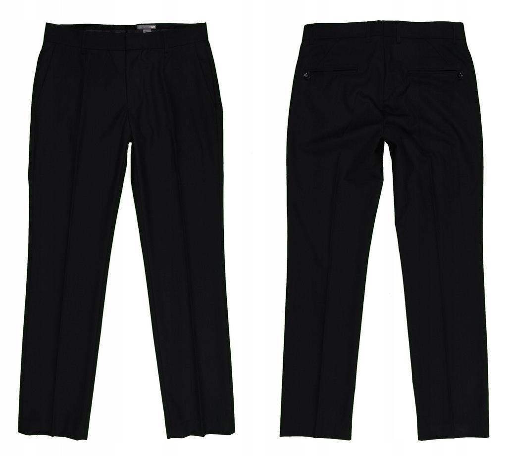H&M czarne spodnie męskie w kant r. 46