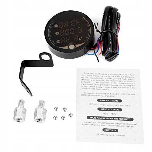 Qiilu 3-w-1 motocykl elektroniczny termometr cyfro