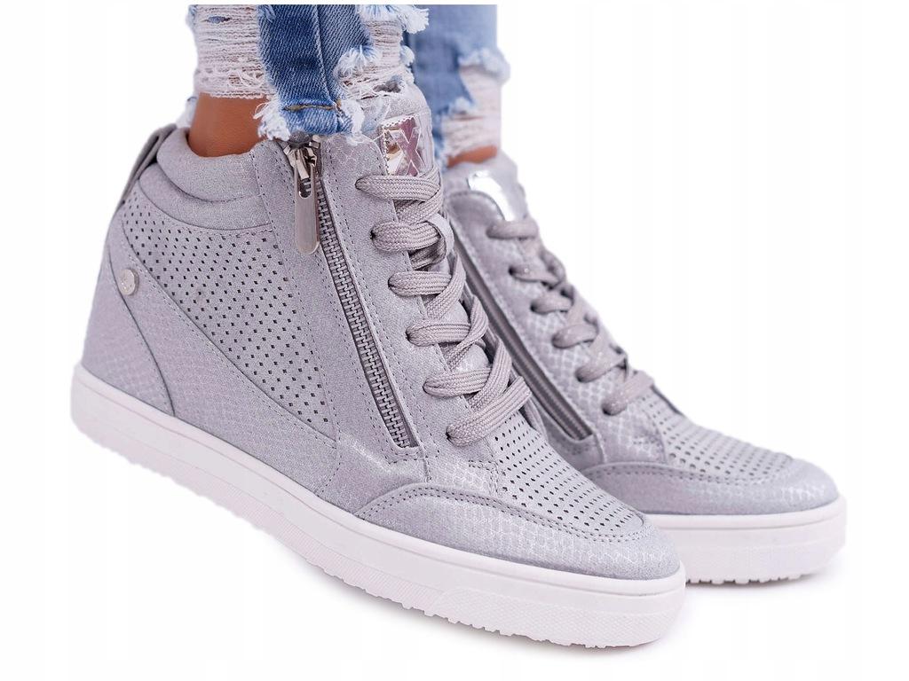 Sneakersy Damskie Trampki Na Koturnie XTI 49018 Szare Milten