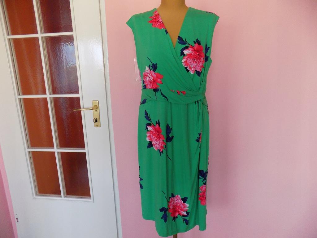 ołówkowa sukienka wizytowa zielona kwiaty 46