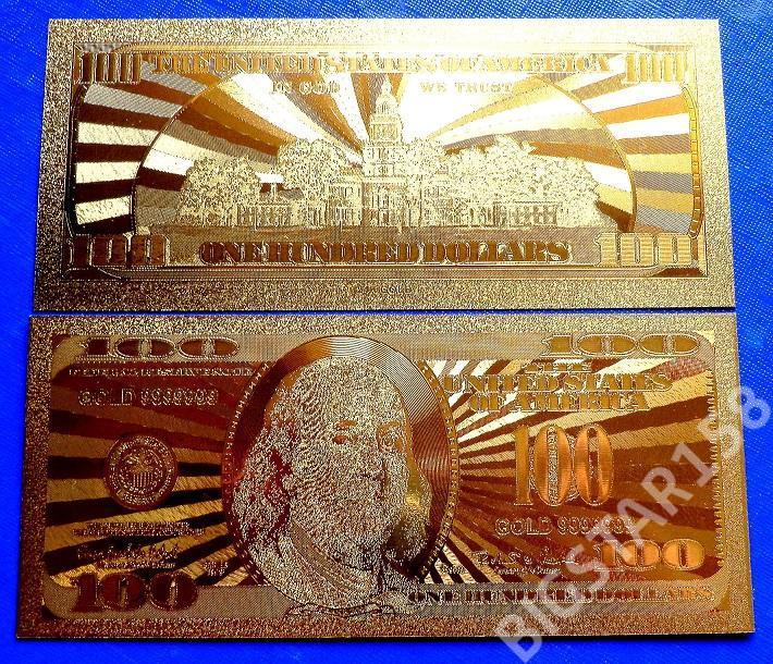 BANKNOT 100 $ USA W CZYSTYM ZŁOCIE!!! 24 KARATY!!!