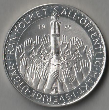Szwecja 50 koron 1975 - srebro - stan menniczy -
