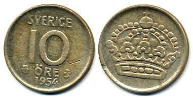 Szwecja 10 Ore - 1954r Srebro (Ag-400)