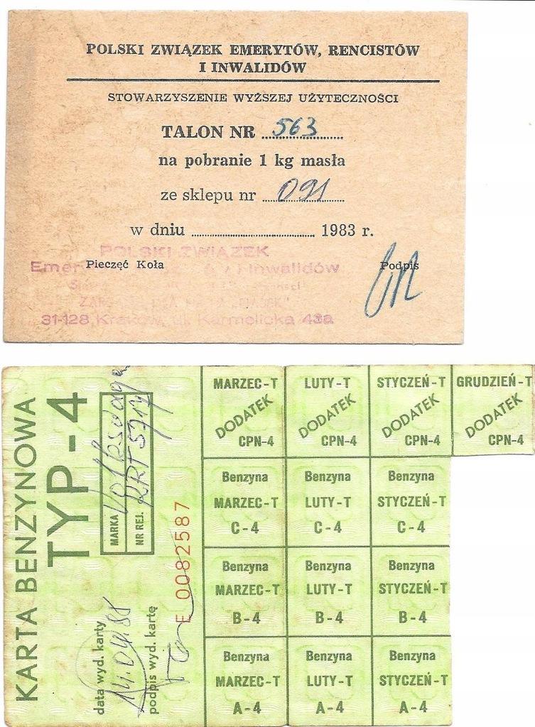 Kartki benzynowe, Talon na masło PRL