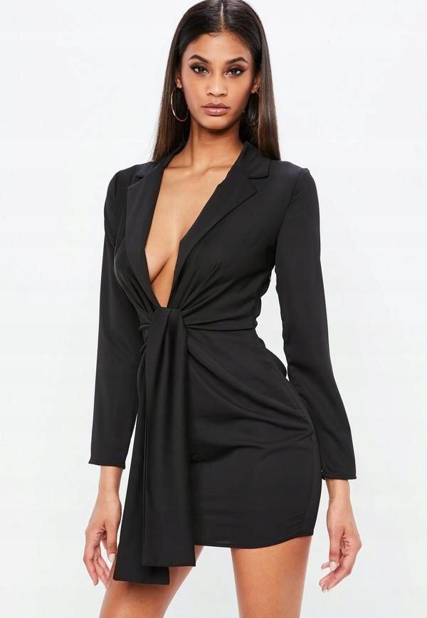 MISSGUIDED Czarna satynowa sukienka wiązana (34)