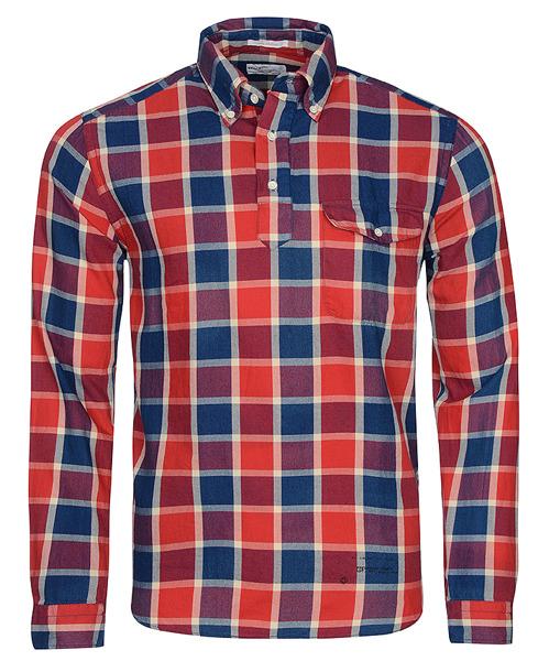 Koszula Męska GANT The Pullover czerwony/granatowy