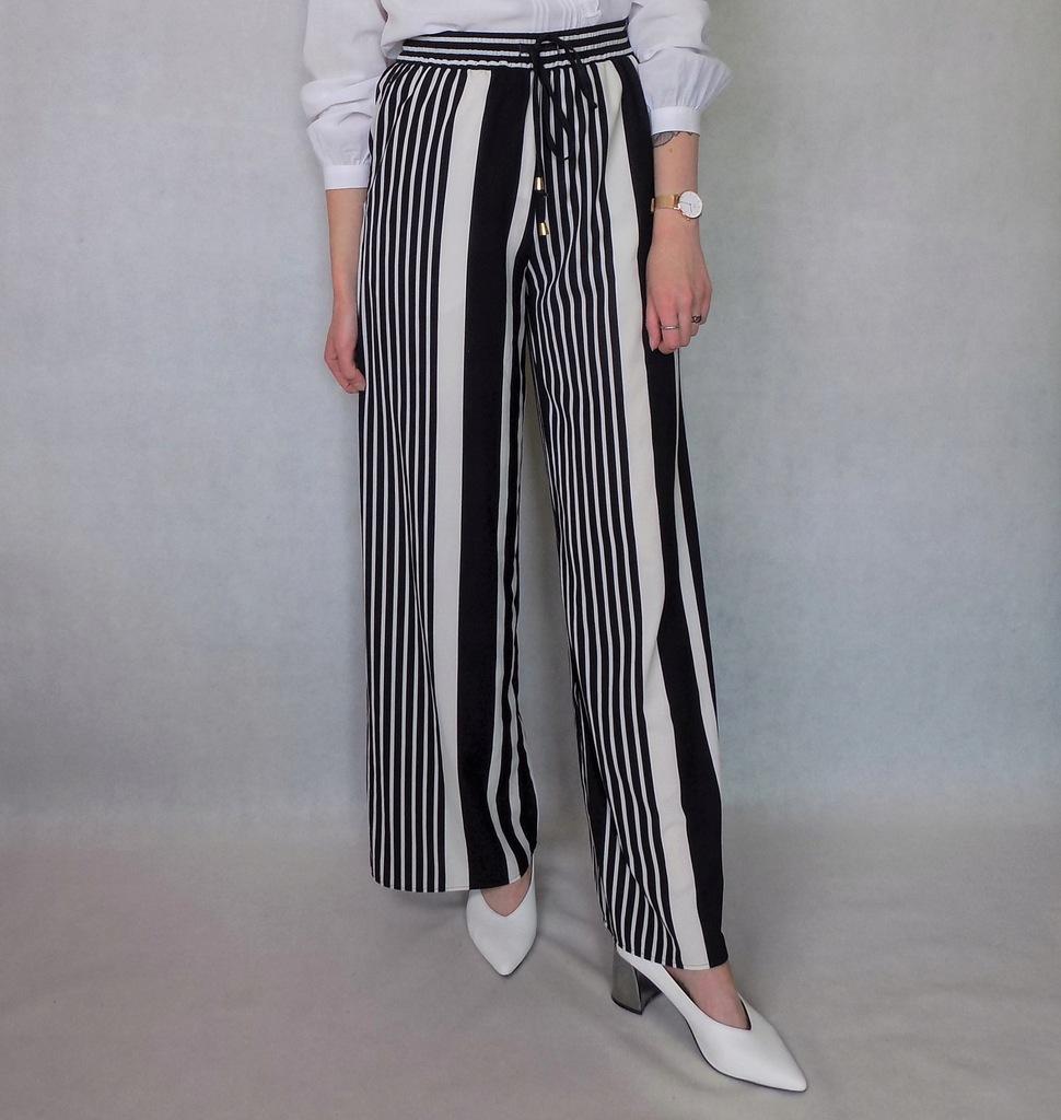 spodnie w czarne paski h&m trend S paper bag
