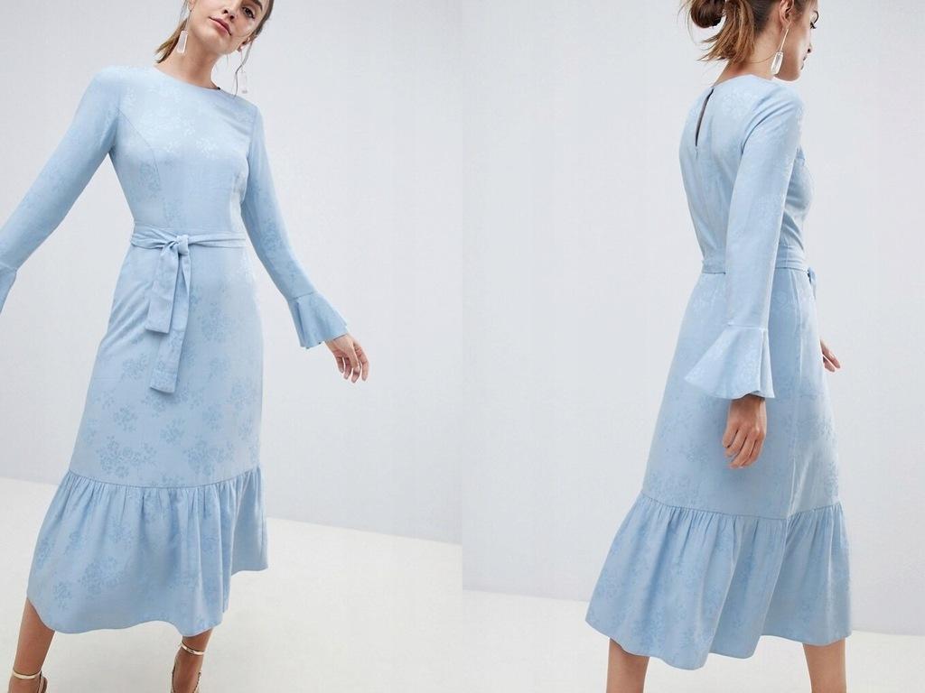 Niebieska Żakardowa Długa Sukienka z Paskiem L/40