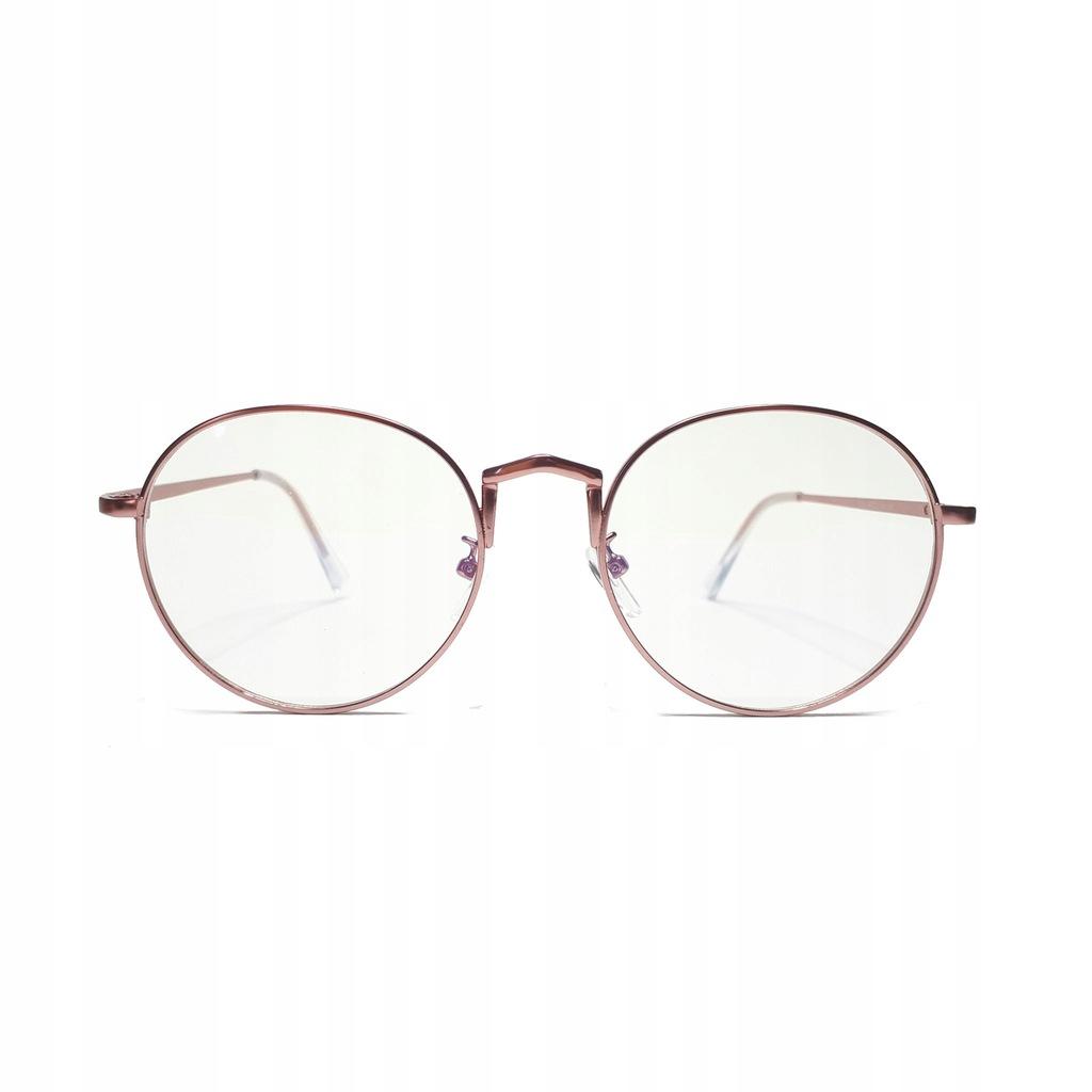 Okulary Zerówki Okrągłe Lenonki Retro Różowe Złote