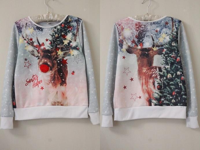 Świąteczna bluza z reniferem TU, 140cm