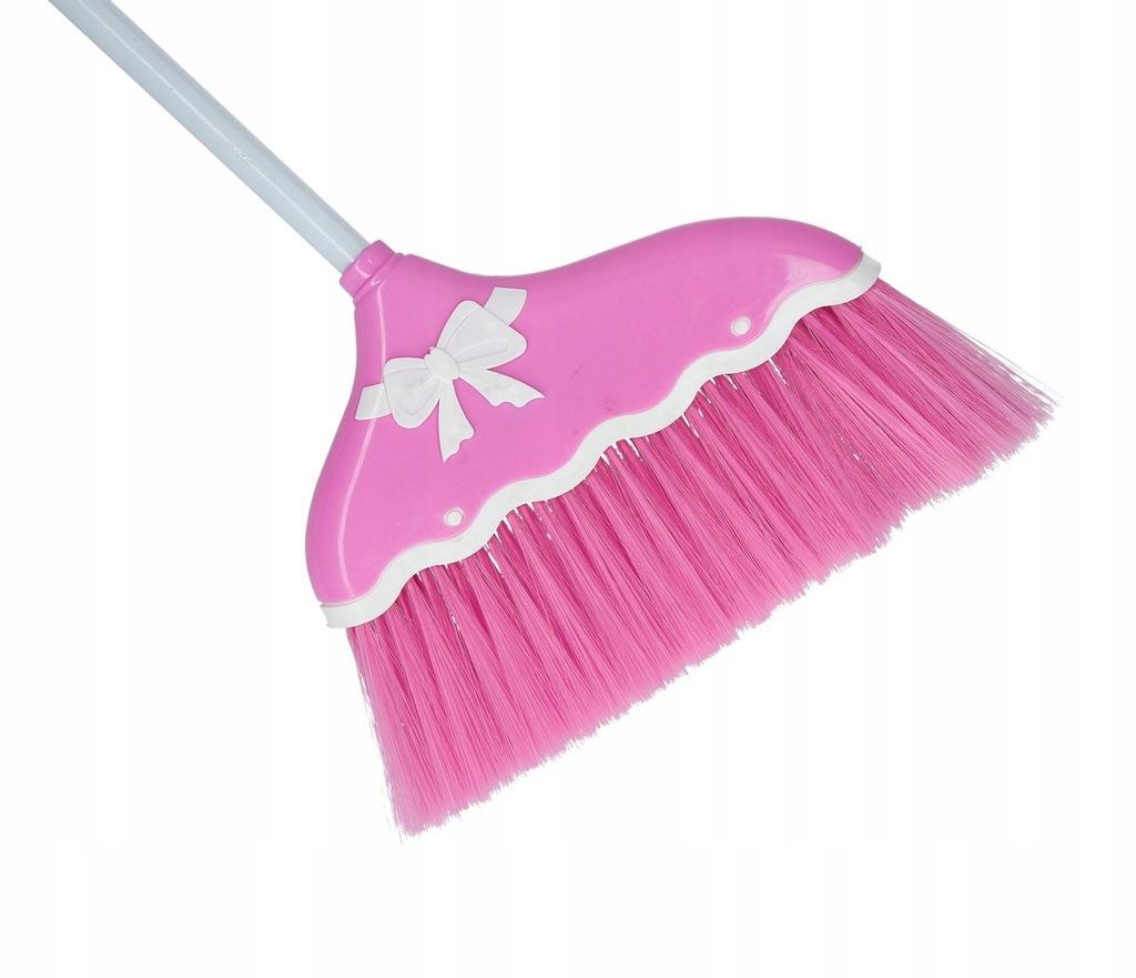 Miotła z kijem różowa ze wstążką