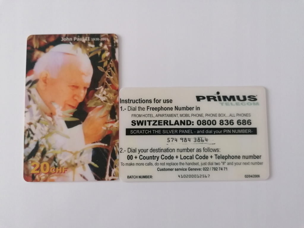Karta kolekcjonerska JAN PAWEŁ II PRE PAID
