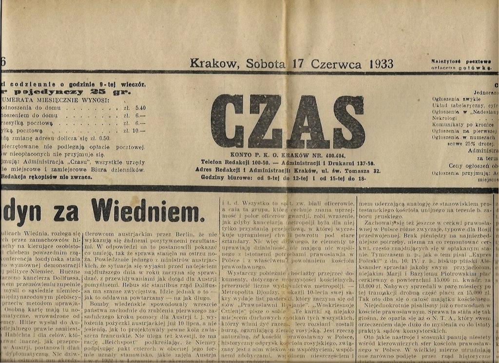 CZAS 1933 Prawosławie Węgierska Górka Bolechowice