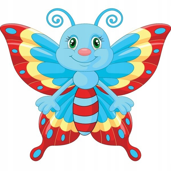 Błękitny motyl 30x30cm naklejka dziecko ścienna