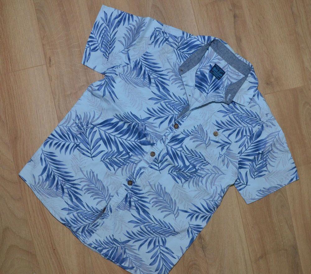 Koszula 134cm 7-8lat biała liście Hawaje NEXT 140