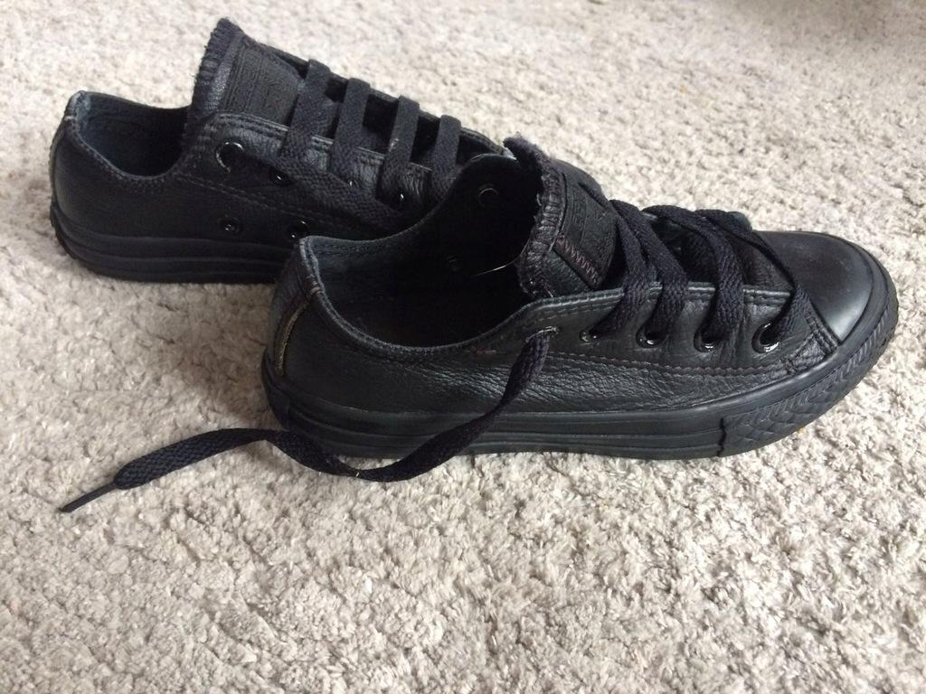 Converse czarne skórzane trampki dziecięce 28,5