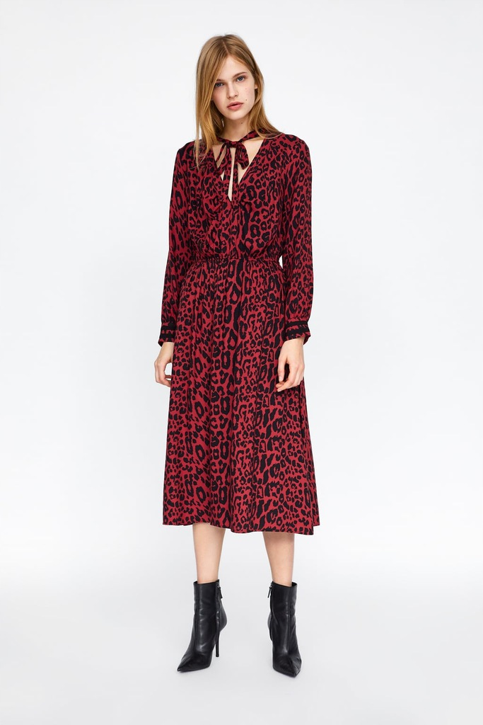 Zara 36 sukienka czerwona panterka animal print