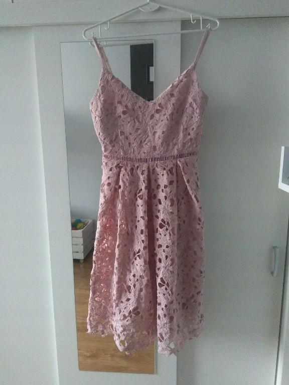 Top Secret sukienka koronkowa pudrowy róż 34/XS
