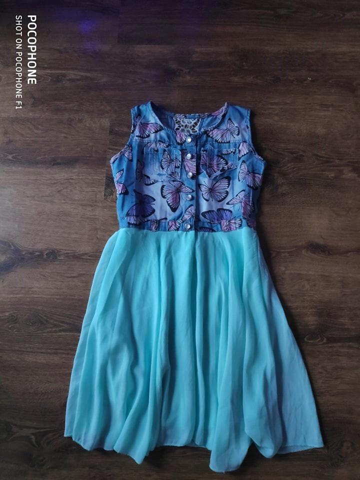 Sukienka elegancka mietowa Rozm 128/134/140
