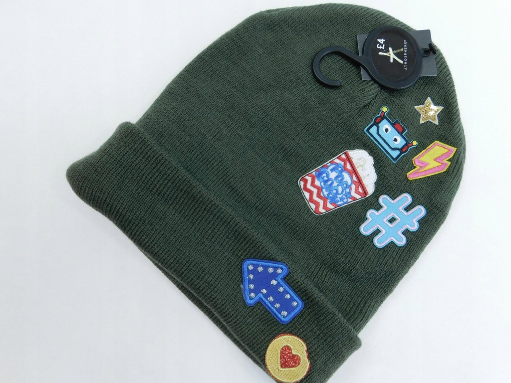 2201d21 ATMOSPHERE czapka ZIMOWA zielona ONE SIZE