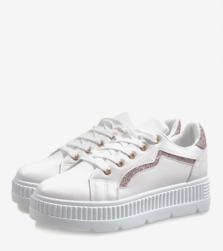 Białe trampki buty tenisówki platforma BM1980 39