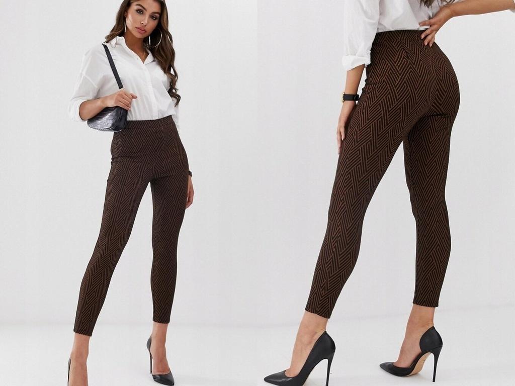 Żakardowe obcisłe spodnie z wysokim stanem 34/XS