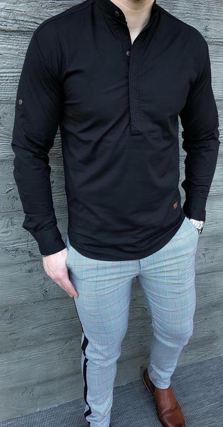 Czarna męska koszula z zakrytymi guzikami M 7654081018  Qv1fg