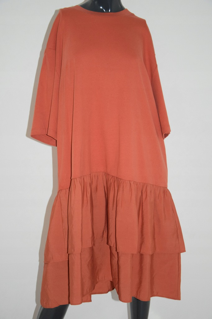 cos pomarańczowa sukienka oversize bawełna M/38/L
