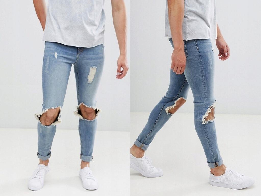 Hoxton Denim jeansowe spodnie z dziurami W30 L32