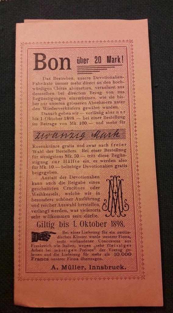 Bon 20 marek na zakup dewocjonaliów 1898